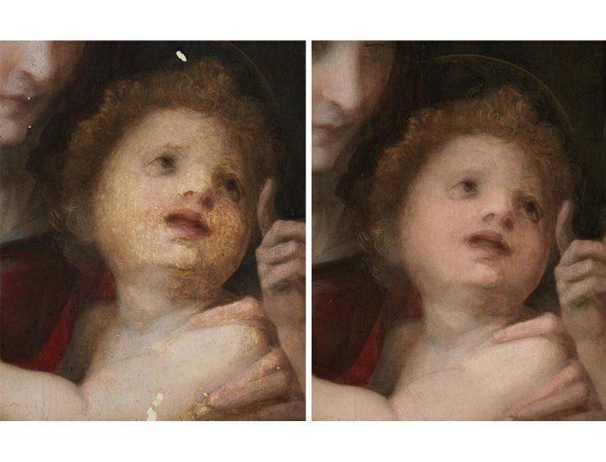 Andrea del Sarto, »Die Heilige Familie«, nach 1514/15, Alte Pinakothek. Gesicht des Christuskopfes im Zustand vor und nach der Retusche beschädigter Malerei. <br>© Sibylle Forster, Bayerische Staatsgemäldesammlungen