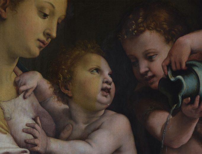 """Ausschnitt von Giulio Romano: """"Die Madonna mit der Waschschüssel"""" <br>Zustand während der Firnisabnahme <br>Foto: Steffi Bodechtel <br>© SKD"""
